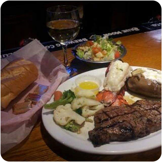 Bar & Grill page - steak and lobster